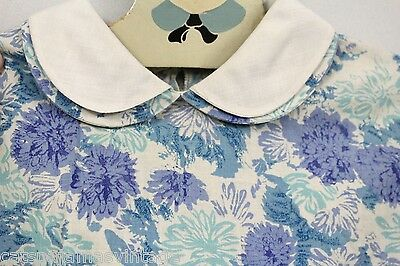 VTG 1930s Girls Housedress Blue Floral Cotton Depression Era 32 Chest