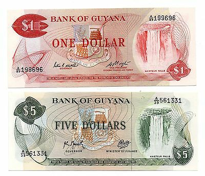GUYANA  1 and 5 Dollars   - A Set of 2 Crisp UNC Banknotes