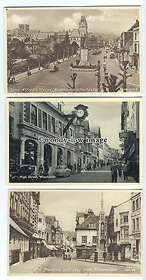 tb0147 - Hampshire - High Street & Broadway - Winchester - 3  postcards