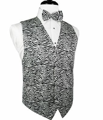 Zebra Big and Tall Tuxedo Vest and Bow Tie Set