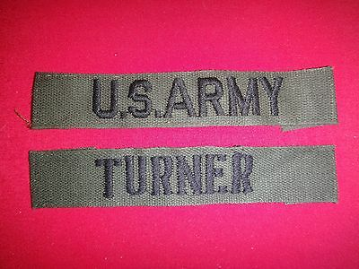2 Vietnam War Subdued Patches: U.S ARMY Pocket Tape + TURNER Name Tape