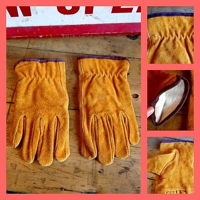 Vintage 60's 70's Mustard Yellow Suede Gloves Men's Small Mod Carnaby Scooter