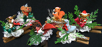 50 piece Vintage Christmas LOT Ornaments ANIMALS SANTA Card Hangers FOLD OUTS