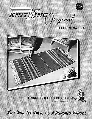 KNITKING Vintage Knitting Machine PATTERN for WOVEN RUG pattern No. 114 Copy