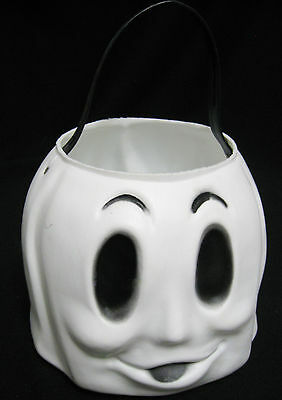 GHOST Blow Mold BUCKET Pail Trick or Treat Metal Rivets Vintage Halloween