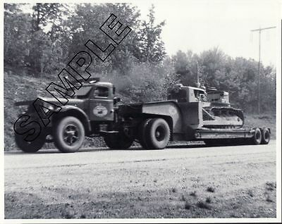 $ Reduced: 1940s STERLING CHAIN-DRIVE w/Lowboy & CATERPILLAR D-7 8x10 B&W Photo