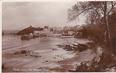 Tenby From The Slopes, Pembrokeshire, Wales : Real Photo Postcard (1939)
