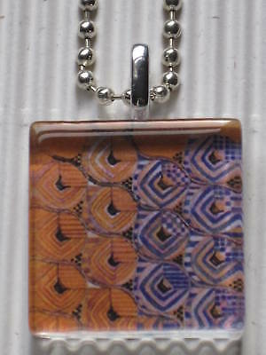 Altered Art Glass Tile Necklace Oranges Purples Abstract Silver Jewelry Gift New