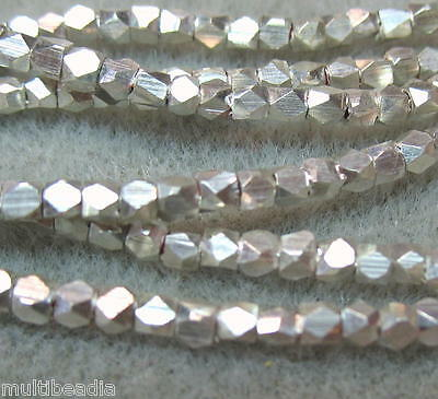 "Silver Plated SP 2-2.5mm Faceted Square Nugget Beads 4"" Hot Popular Spacer"