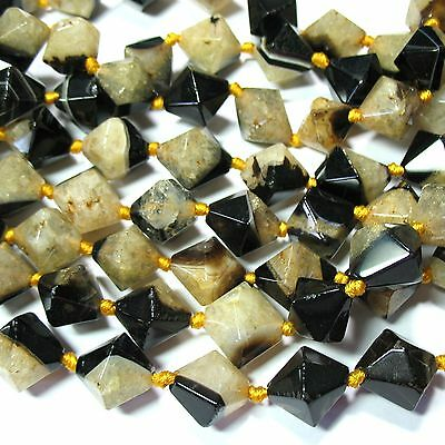 """Black & Yellow Agate 16mm Bicone Nugget Beads 16"""" 2mm Hole """"Septarian"""" Look"""