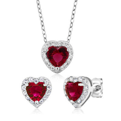 3.45 Ct Heart Shape Red Zirconia 925 Sterling Silver Earrings and Pendant Set