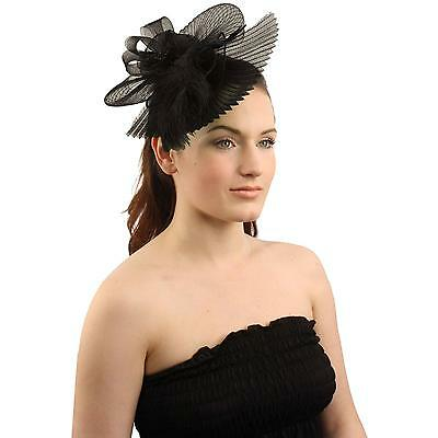 Handmade Floral Beads Feathers Removable Headband Fascinator Cocktail Hat Black