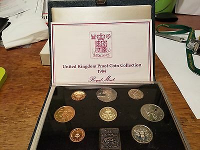 1984  UNITED KINGDOM PROOF COIN COLLECTION ROYAL MINT 8 coin set