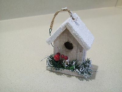 Bird House Christmas Ornament Wooden White Snowy Birdhouse Ornament  4 1/2""
