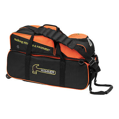 Hammer Triple Tote with Pouch - Black/Orange Bowling Bag NEW