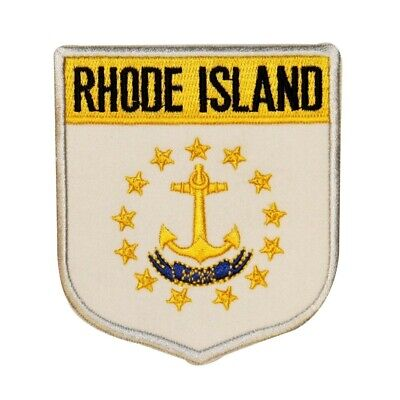 "State Flag Shield ""Rhode Island"" Iron-On Badge Patch Travel Souvenir Applique"