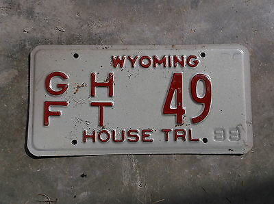 Wyoming 1988 GF House Trailer  License Plate  # 49