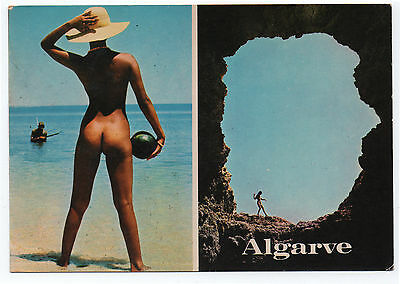 (P266) Naked Woman in the Algarve. 1980s Multiview Postcard