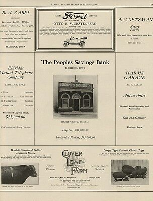 Princeton, Iowa: Large 1919 AD Sheet; with Farmers Saving Bank Picture
