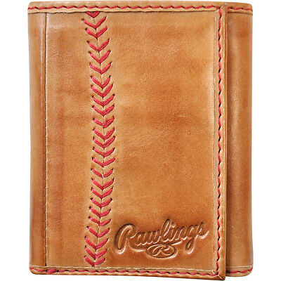 Rawlings Baseball Stitch Tri-Fold Wallet - Tan Men's Wallet NEW