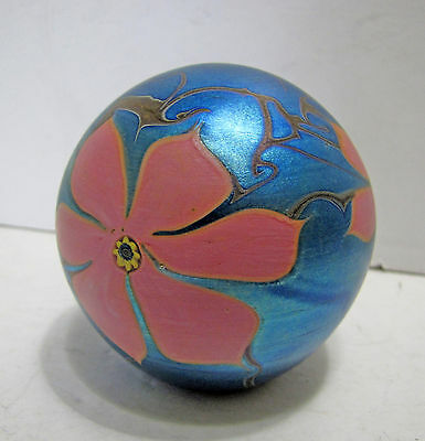 Early Vandermark Blue Iridescent Paperweight 1980 Signed Flowers Floral