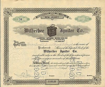 Witherbee Igniter Co 1919 Rare Battery on Clouds Led Market Edward F Leonard