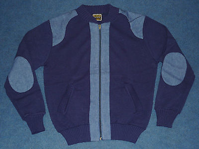 "VINTAGE 1970's MEN'S NAVY & DENIM ZIP UP CARDIGAN SIZE 38"" BRAND NEW DEAD STOCK"