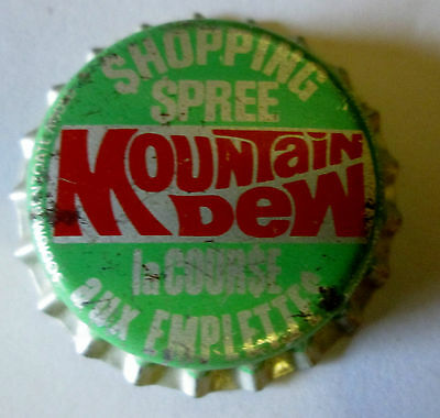 Vintage Shopping Spree Mountain Dew Bottle Cap Plastic Lined  Uncrimped