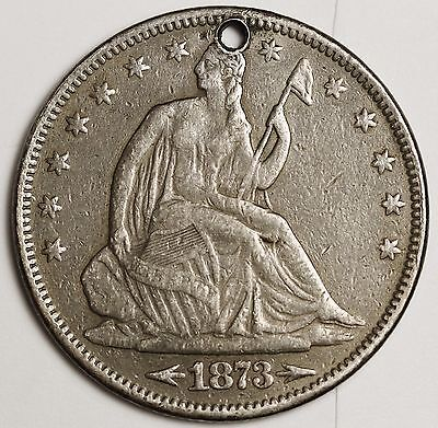 1873-s Seated Liberty Half.  X.F. Detail.  Holed.  99222