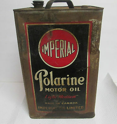Scarce 1920's Imperial Oil Limited Canada Imperial Polarine Motor Oil Tin 5 Gal