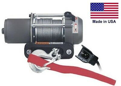 "WINCH - Heavy Duty - 12 Volt DC - .4 Hp - 1500 Lb Cap - 40 Ft of 5/32"" Synthetic"