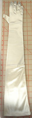 Xtra Long Gloves Wedding Prom Stretch Satin Off White Ivory Color