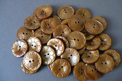 12 Copper Coloured Vintage Buttons.  22mms. diam.  New Old Stock