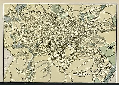 Worcester Massachusetts Street Map: Authentic 1899; Detailed but SMALL