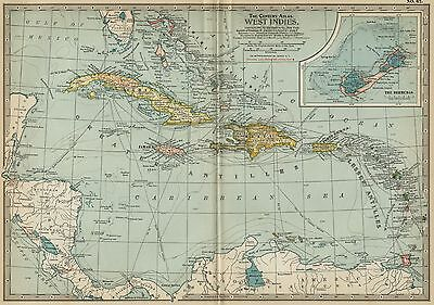 West Indies Bahamas / Bermuda + Map: Authentic 1897 (Date) Cities, Ports, Routes