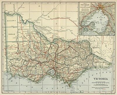 Victoria, Australia Map; Authentic 1906 (Dated) Cities, Towns, Topography, RRs +