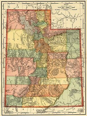 Utah Map: Authentic 1895 (Dated) showing Towns, Counties, Railroads & More
