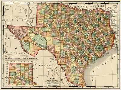 Texas Map: Authentic 1895 (Dated) showing Towns, Counties, Railroads & More