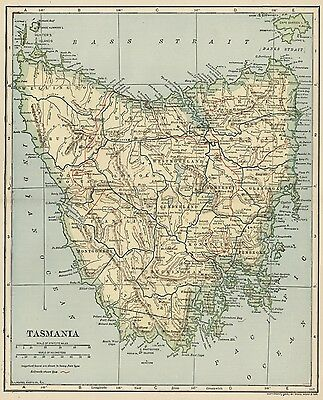 Tasmania, Australia Map; Authentic 1907 (Dated) Cities, Towns, Topography, RRs +