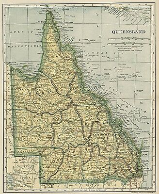 Queensland, Australia Map; Authentic 1907 (Dated) Cities, Topography, RRs +