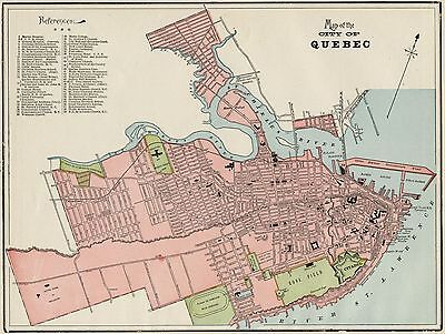Quebec City Canada Street Map: Authentic 1887; / Stations, Landmarks & more