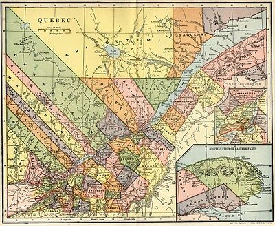Quebec Canada Map: Authentic 1903 (Dated) Towns, Counties, RRs: Montreal Inset