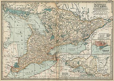 ONTARIO Map: Authentic 1897 (Dated) Counties, Cities, Topography, Railroads