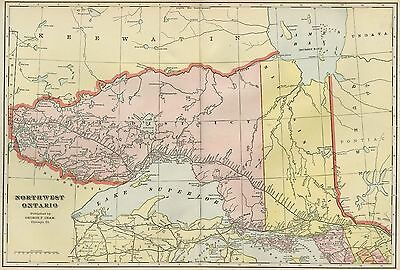 ONTARIO Canada Map: Authentic 1899 / Cities; Towns; Railroads, Topography