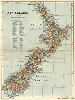 New Zealand Map: Authentic 1895; North Island, South Island: Towns, Ports,+