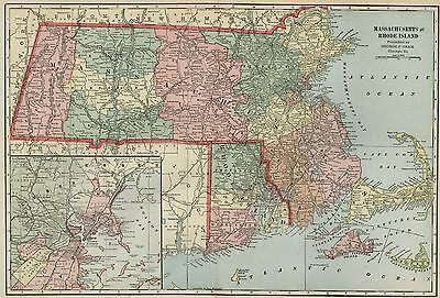 MASSACHUSETTS Map: Authentic 1899; Counties, Cities, Railroads, Topography