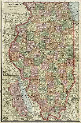ILLINOIS Map: Authentic 1899; Counties, Cities, Towns, Railroads, Topography