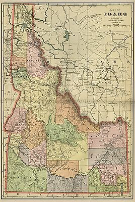 IDAHO Map: Authentic 1899; Counties, Cities, Towns, Railroads, Topography