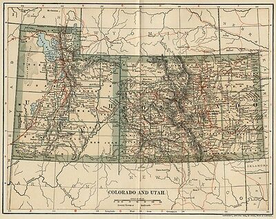 Colorado & Utah Map:Authentic 1902 (Dated) Cities, Counties, RRs & 1900 Populat.
