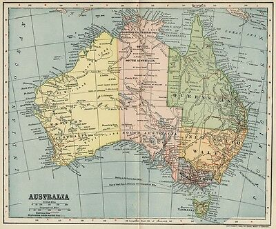 AUSTRALIA Map: Authentic 1902 (Dated) Towns, Cities, Ports, Railroads: Detailed